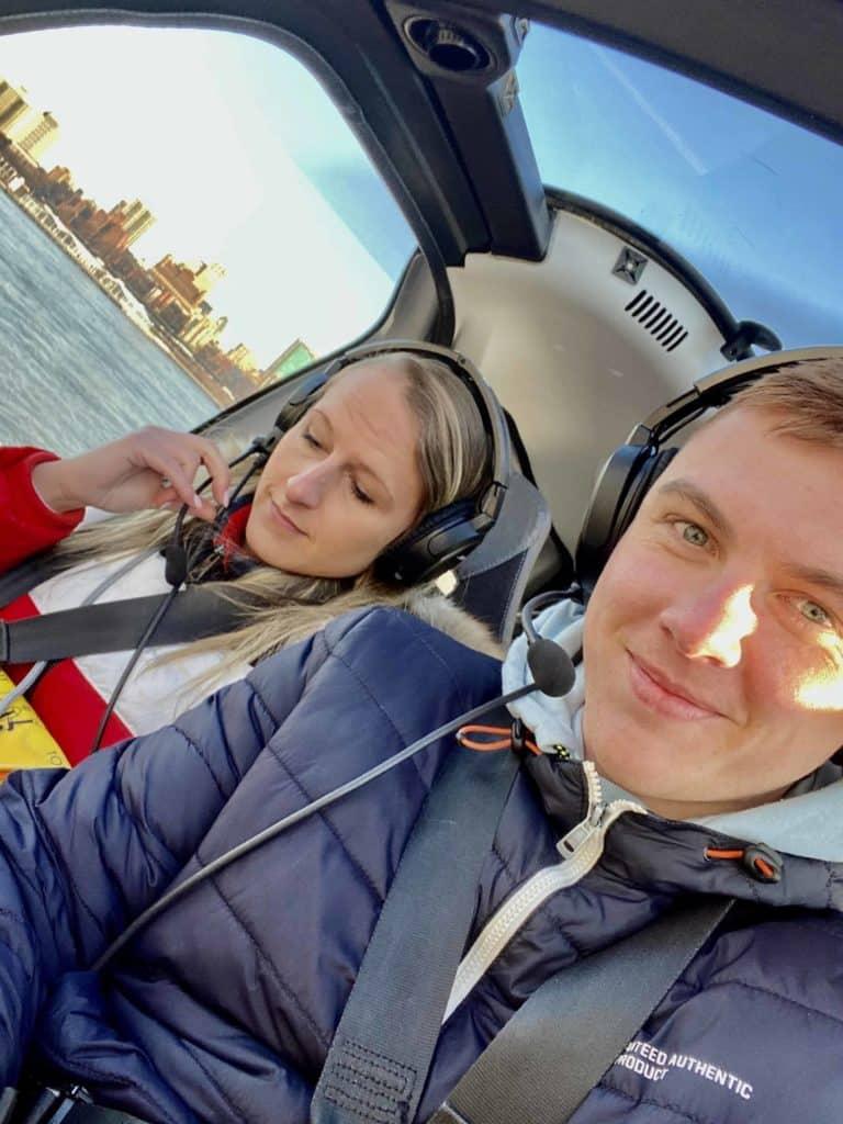 Selfie im Helikopter über New York