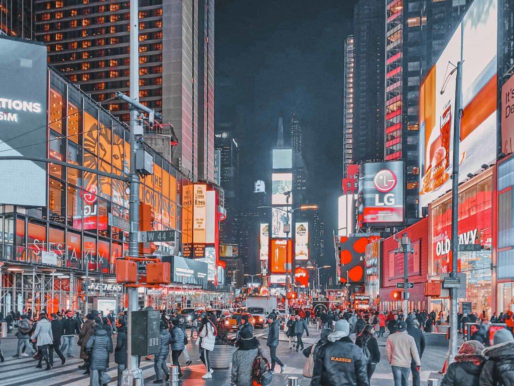 Der Times Square ist auch bei nacht sehenswürdig