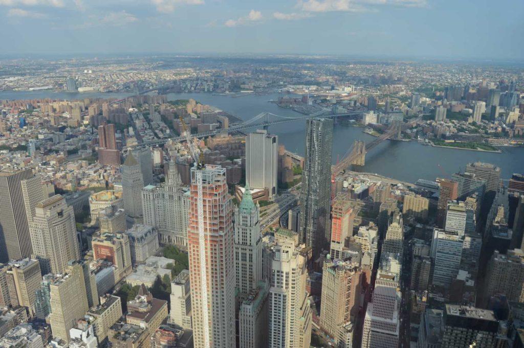 One World Observatory View towards Brooklyn and the Brooklyn Bridge
