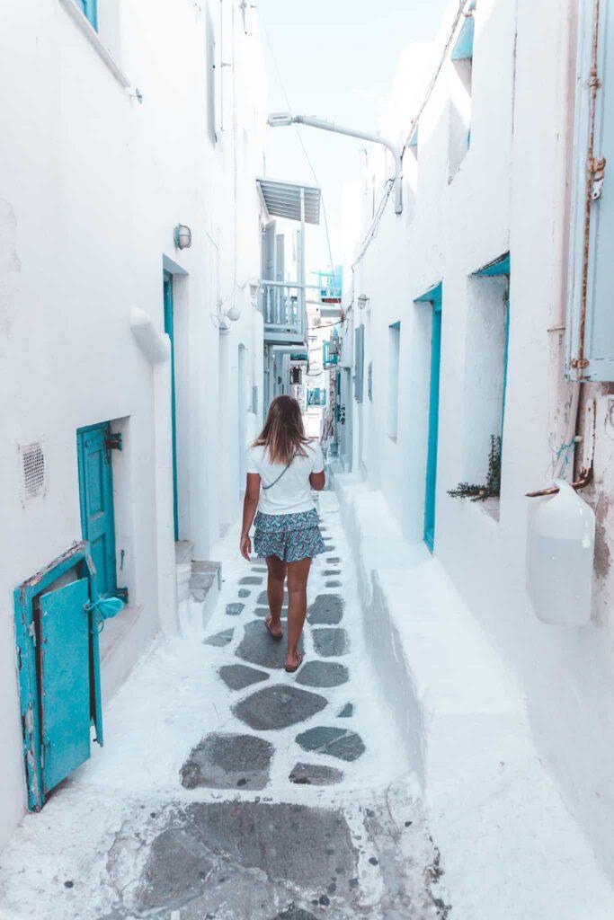Enge Gassen in der Innenstadt von Mykonos
